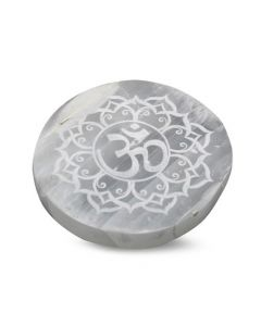 "Selenite Round OM Lotus Incense Holder 4""dia"