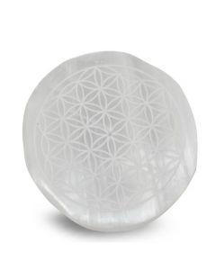 "Selenite Round Flower of Life Incense Holder- 4""dia"