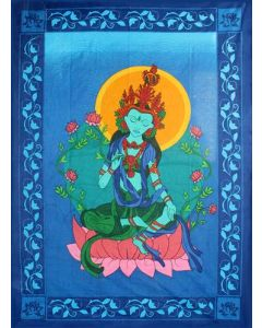 COTTON TAPESTRY GREEN TARA 52 x 76""