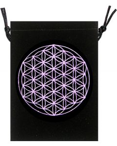 POUCH - BLACK VELVET FLOWER OF LIFE 5x7""
