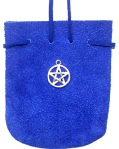 "SUEDE POUCH ROUNDED WITH STRAP COBALT- PENTACLE 3.25"" x 2.75"
