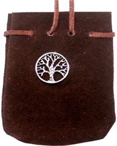 "SUEDE POUCH ROUNDED WITH STRAP  BROWN-  TREE OF LIFE 3.25"" x"