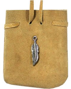 "SUEDE POUCH ROUNDED WITH STRAP NATURAL- FEATHER 3.25"" x 2.75"