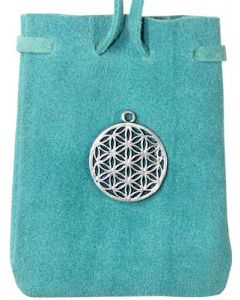 SUEDE POUCH ROUNDED WITH STRAP TURQUOISE WITH FLOWER OF LIFE