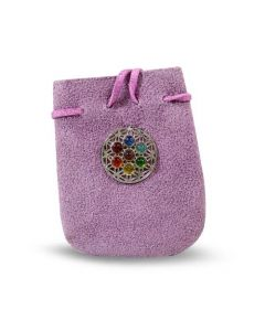 "SUEDE BAG PURPLE-CHAKRA FLOWER OF LIFE  3.25"" x 2.75"""