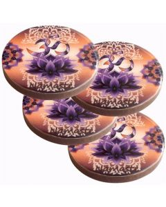 OM LOTUS WOOD COASTER SET OF 4