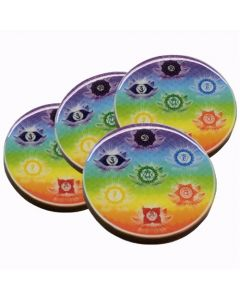 7 CHAKRA  WOOD COASTER SET OF 4