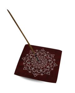 Red Soapstone Mandala Incense Holder
