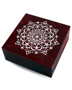 Mandala Red Soapstone Storage box