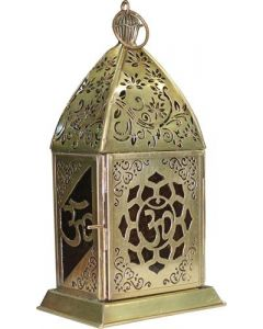 Iron & Glass Lantern  OM LOTUS