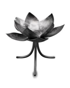 METAL LOTUS FOR SINGLE T-LIGHT ON SINGLE STAND-ANTIQUE SILVE