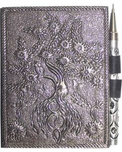 SMALL WHITE METAL JOURNAL-TREE OF LIFE