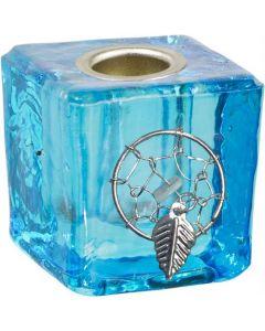GLASS CUBE MINI CANDLE HOLDER-AQUA+DREAMCATCHER