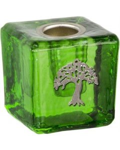 GLASS CUBE MINI CANDLE HOLDER-GREEN+TREE OF LIFE