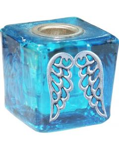 GLASS CUBE MINI CANDLE HOLDER- TURQUOISE-ANGEL WINGS