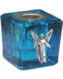 GLASS CUBE MINI CANDLE HOLDER- TURQUOISE-GABRIEL