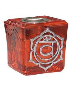 GLASS CUBE ORANGE CANDLE HOLDER-SACRAL