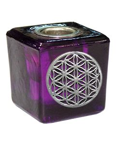 GLASS CUBE PURPLE CANDLE HOLDER-FLOWER OF LIFE