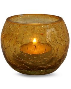CRACKED GLASS VOTIVE HOLDER-GOLD