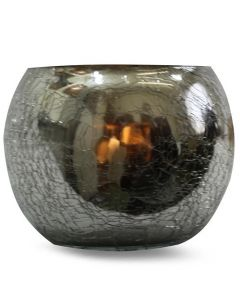 CRACKED GLASS VOTIVE HOLDER-SILVER