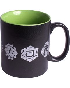 CERAMIC COFFEE MUG BLACK - 7 CHAKRAS