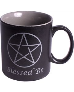 CERAMIC COFFEE MUG BLACK - BLESSED BE