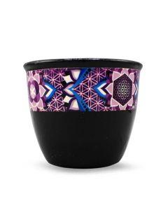Ceramic Smudge Bowl Flower of Life Black Large