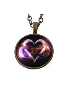 Lucky pendant Purple Heart Endless Love incl. chain