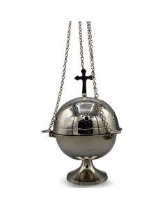 Nickel Hanging Incense Burner with Cross (18cm)