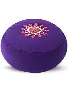 Meditation Cushion Round Om Lotus Buckwheat Filled