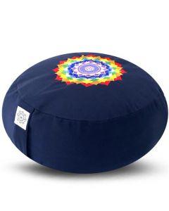 Meditation Cushion Round Chakra Lotus Navy Buckwheat filled