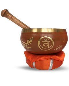 Brass Singing Bowl with stick & Cusion 10 cm Sacral Chakra