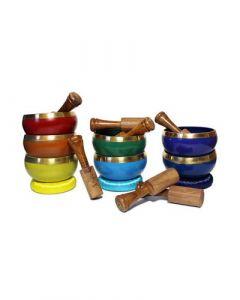 Brass Singing Bowl with stick & Cusion 10 cm 7 chakra set