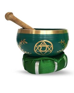 Brass Singing Bowl with stick & Cusion  10 cm Heart Chakra