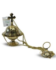 Brass hanging incense burner with cross (10cm)