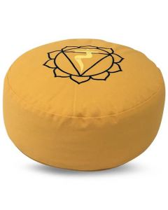 Meditation Cushion Round Solar Plexus Chakra Buckwheat Fille