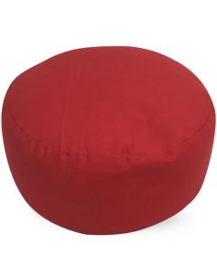 Meditation Cushion Round Plain Red Buckwheat Filled