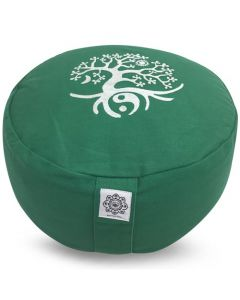 Meditation Cushion Green - Tree Of Life Buckwheat Filled