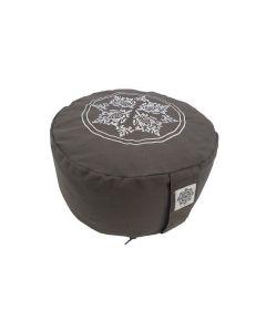 Meditation Cushion Side Print with Embroidery Dark Grey