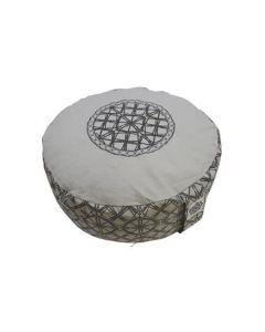 Meditation Cushion with Embroidery Cool Grey