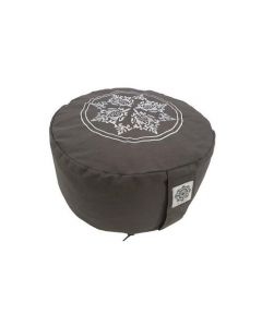 Meditation Cushion Side Print with Embroidery - Cool Grey