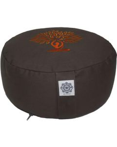 Meditation Cushion Round Dyded Cotton Yoga Tree Orange