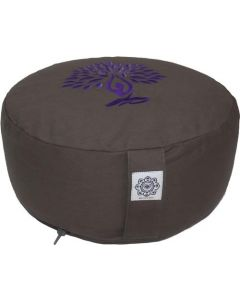Meditation Cushion Round Yoga Tree Purple Dyed Cotton