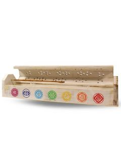 Wooden incense box 7 chakra white