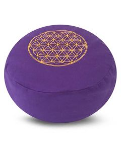 Meditation Cushion Round Flower Of Life Purple Buckwheat l