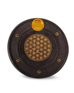 Black Mango Wooden Incense Burner with Flower of Life