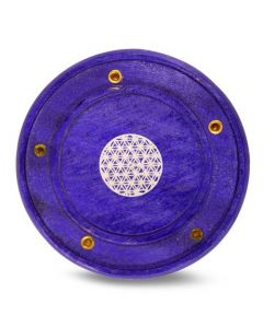 Purple Mango Wooden Incense Burner Flower of Life