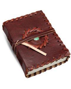 Leather Journal With Semi Precious Stone In Centre 12x9cm