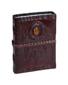 Leather Journal Dream Catcher with precious stone