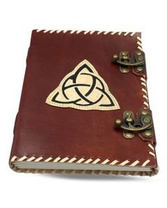 Vintage Leather Journal Triquetra with double sliding lock